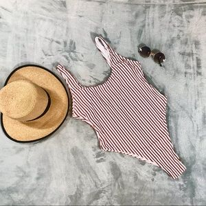 NWOT Zaful Low-Back High-Cut Striped One-Piece